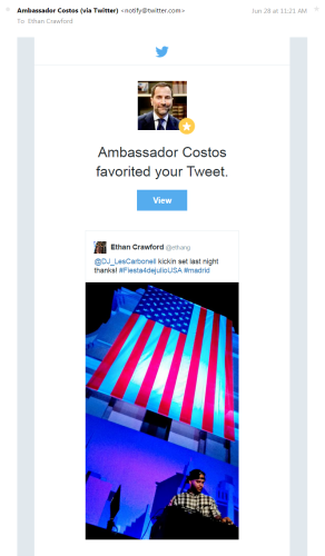 Ambassador Costas Favorite Tweet