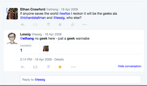 2009 conversation between @ethang and @lessig on twitter